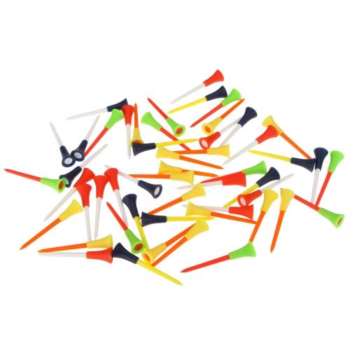 50шт 83mm Многоцветные Пластиковые Тройники гольфа Резиновый валик Вершина Снаряжения для гольфа