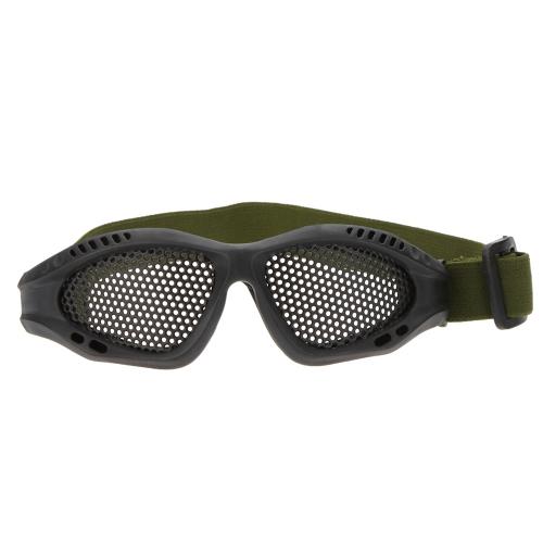 Verstellbarer Gürtel Schutzbrillen leichte Anti-Beschlag schlagfest Schutz Metallgitter Brillen für Airsoft Spiele Sport