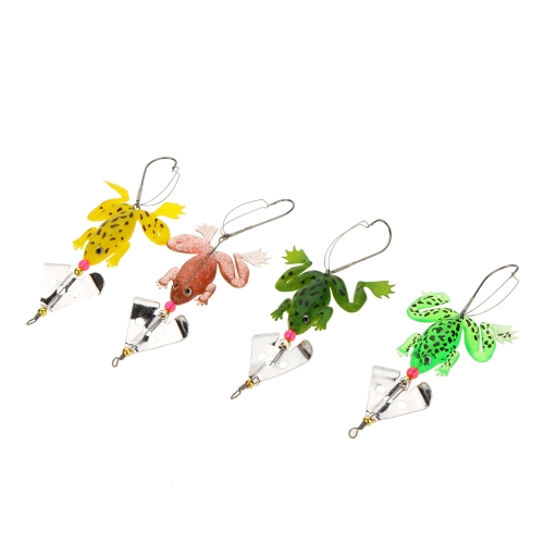 4Pcs 6.5g 11.5cm Frog Shape Soft Fishing Lures Single Fishhook Sequin Baits