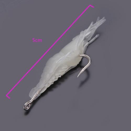 5pcs Fischköder Weiche Licht Shrimp Fischerei Gerät Weiche Köder mit einem Einzelhaken