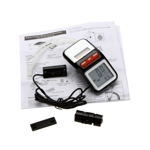 LCD Solar Power Bicycle Speedometer Pedometer Odometer Bike Cycling Computer