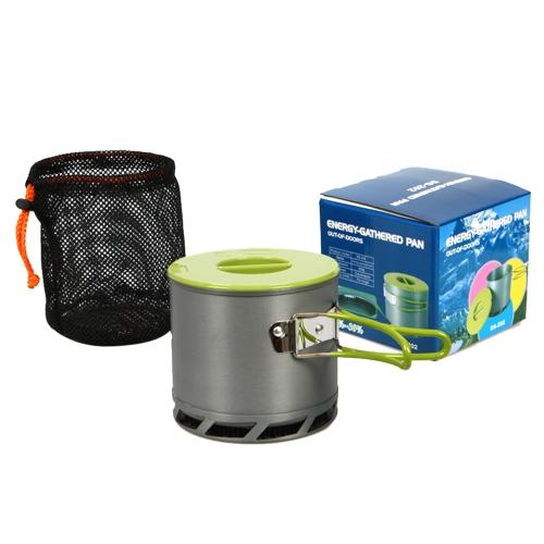 1,2 L Camping Kochgeschirr  Tragbar Heat Exchanger Outdoor Topf sammeln eloxierten Aluminium für 1-2 Personen