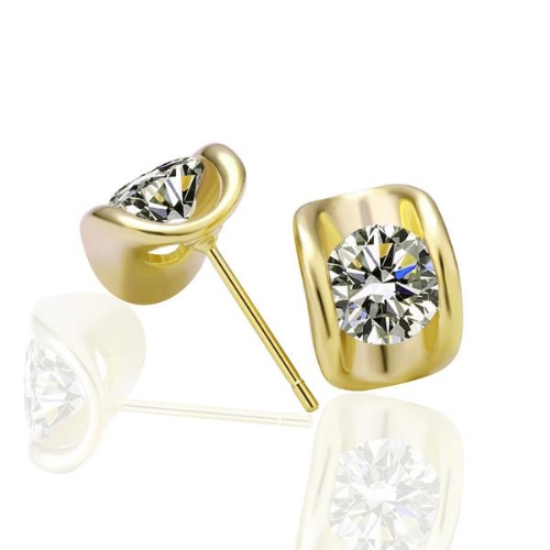 Elegant Gold-Electroplated CZ Diamond Stud Earring Graceful Fine Women Jewelry Summer Style for Party/Wedding/Daily