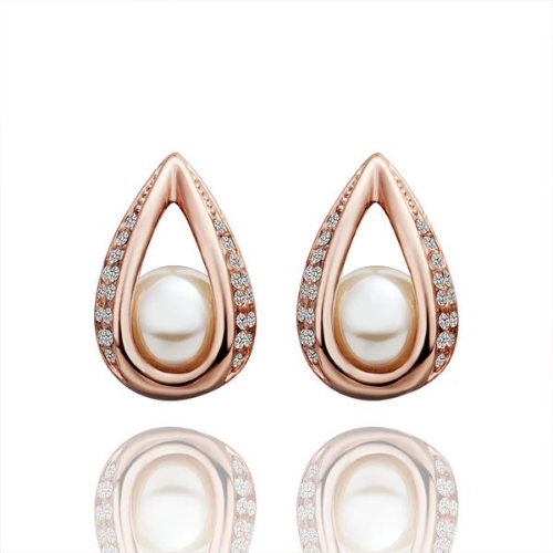 Elegant Graceful CZ Diamond Artificial Pearl Teardrop Stud Earring Rose Gold-Electroplated Fine Women Girl Jewelry for Party/Wedding/Daily