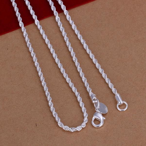 Hot Fashion Silver-Plated Twist Rope Chain Necklace 16