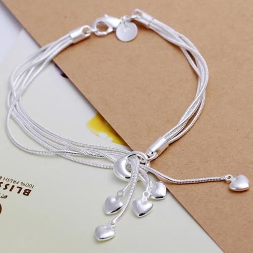 Elegant Beautiful Silver-Plated Heart Pendants Charm Chain Bracelet Bangle Fine Fashion Jewelry Gift for Women Girl Female