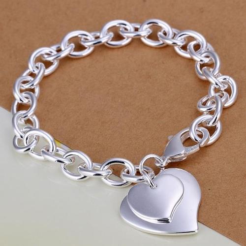 Elegant Fashion Silver-Plated Double Heart Pendant Link Chain Bracelet Fine Love Jewelry Christmas Gift for Women Girl