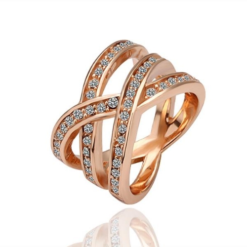 R001-8 WholesaleHigh QualityNickle Free AntiallergicNew Fashion Jewelry 18K Real Gold PlatedRing For Women Free Shipping