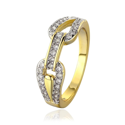 R664-A-8 Wholesale High Quality Nickle Free Antiallergic New Fashion Jewelry 18K Gold PlatedRing