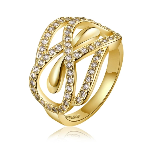 R672-BWholesale High Quality Nickle Free Antiallergic New Fashion Jewelry 18K Gold PlatedRing