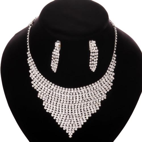 S007free shipping rhinestone crystal jewelry set fashion crystal earrings+neckalce set wedding jewelry sets