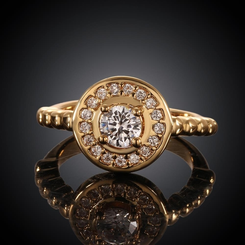 R009-AHigh Quality Nickle Free Antiallergic New Fashion Jewelry 18K Plated zircon Ring