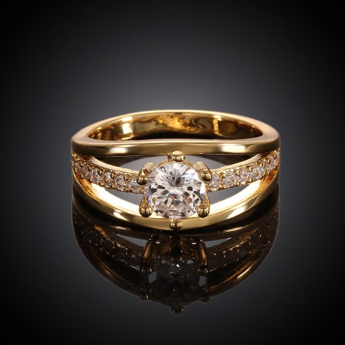 R007-A-8High Quality Nickle Free Antiallergic New Fashion Jewelry 18K Plated zircon Ring