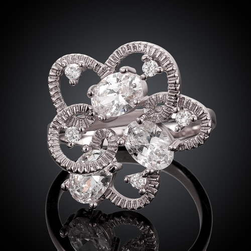 R034-A High Quality Nickle Free Antiallergic New Fashion Jewelry 18K Plated zircon Ring