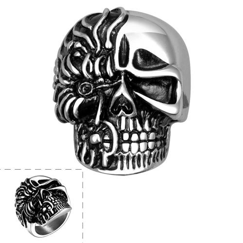 Pulido 316L acero inoxidable Moter/ciclistas anillo calavera esqueleto ancho plata antiguo molde grande joyería pesada gótica Punk Rock estilo Men