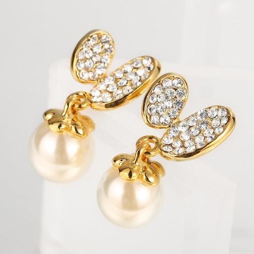 New Hot Fashion CZ Diamond Gold-Electroplated Sweet Cute Artificial Pearl Stud Earring Elegant Fine Girl Women Jewelry