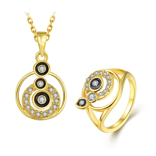 Hot Fashion Shining Rhinestone Ring & Necklace Gold-Electroplated Summer Style Fine Women Girl Jewelry Set for Party Banquet Daily