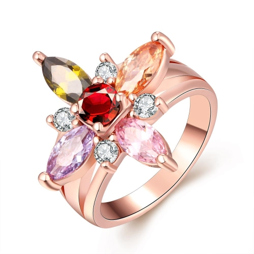 Colorful Petals-shaped CZ Diamond Brass Ring Rose Gold Electroplated Summer Style Fine Women Jewelry for Party/Wedding/Banquet/Daily #8
