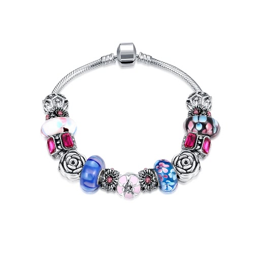 Fashion Unique Charm Colorful Crystal Beads Silver Plated Metal Chain Bracelet Bangle Jewelry for Women Girl Gift Party
