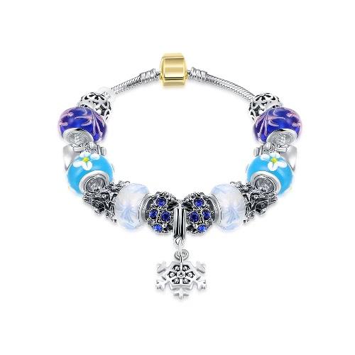 De forma original encanto colorido cristal esferas de metal cadeia pulseira Bangle Jewelry por Mulheres do partido Presente da menina