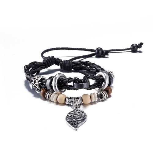 Vintage Fashion Leaf Pendant Alloy Wood Charm Rope Leather Wristband Bracelet