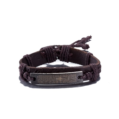 Vintage Fashion Alloy Metal Charm Strap Leather Wristband Unisex Bracelet