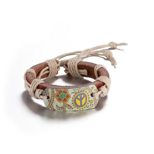 Vintage Fashion Print Charm Strap Leather Unisex Bracelet