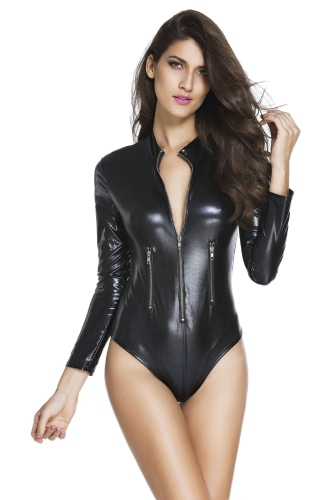 Black Leathery Long Sleeve...