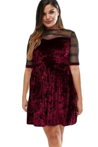 Plus Size Mesh Insert Burgundy Velvet Swing Dress