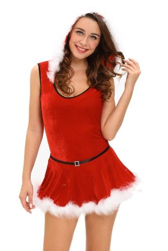 Soft Fur Trim Red Santa Teddy and Skirt Costume