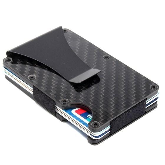 6431b749476a4d Slim Carbon Fiber Credit Card Holder RFID Blocking Metal Wallet Money Clip  Gift Sales Online black - Tomtop