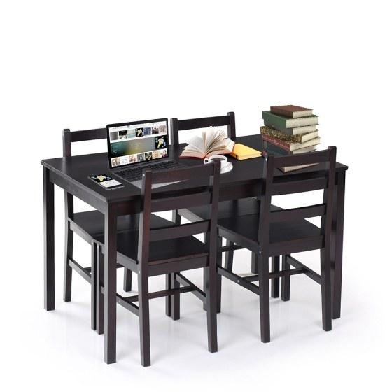 Segunda mano iKayaa Moderno juego de mesa de comedor de madera de pino 5PCS  Mesa de comedor con 4 sillas de capacidad 150KG Marrón oscuro / Miel + ...
