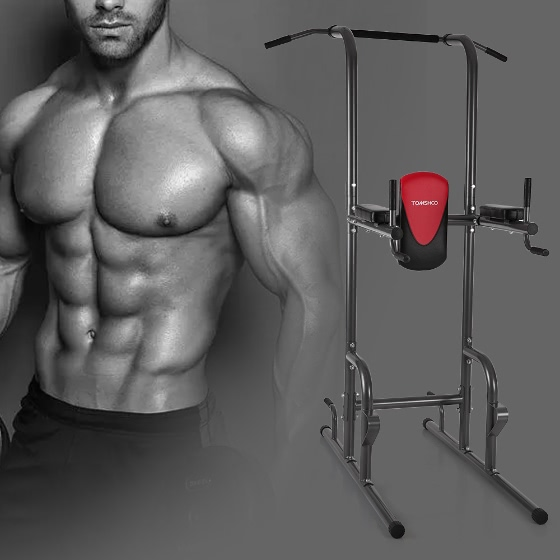 TOMSHOO Multi Station Power Tower Pull Up Stand Rack Push Up Knee Raise Dip  Station Muscle Strength Toner Home Gym Workout Fitness Equipment
