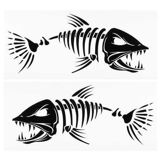 2 piezas peces dientes pegatinas boca pez esqueleto for Pegatinas de peces