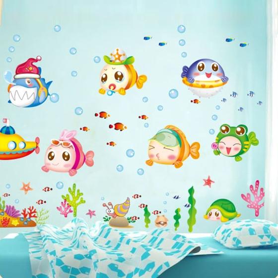 Dibujos animados lindo mundo submarino peces burbuja ni o for Pegatinas de peces