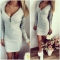 Sexy-Women-Zipper-Solid-Color-V-Neck-Long-Sleeve-Bodycon-Mini-Dress