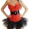 Women-Sexy-Lingerie-Corset-Top-Ribbon-G-string-Cincher-Nightwear-Underwear-RedWhite